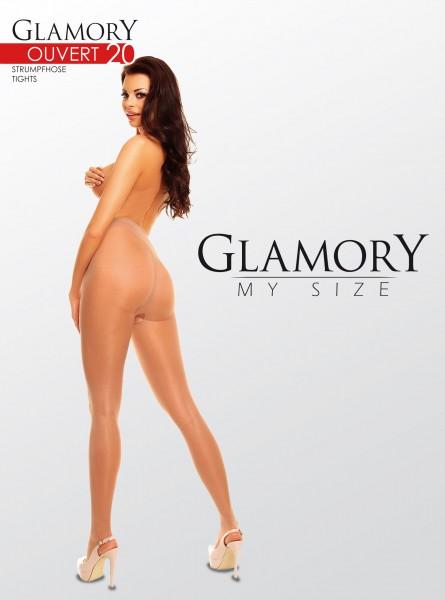Gładkie rajstopy typu ouvert w dużych rozmiarach Ouvert 20 DEN firmy Glamory