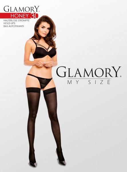 Pończochy samonośne w dużych rozmiarach z delikatnym wzorem imitującym kabaretki marki Glamory