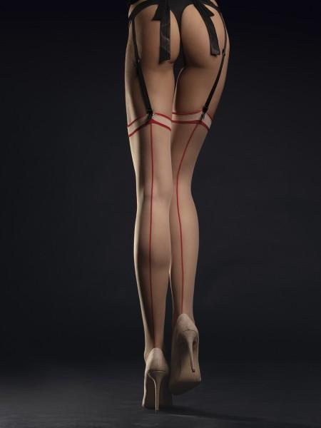 Fiore Madame - Pończochy do paska z tylnym szewkiem w kontrastowym kolorze