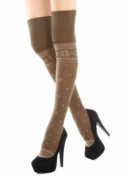 Marilyn - Nordic print over the knee socks Zazu, 120 DEN