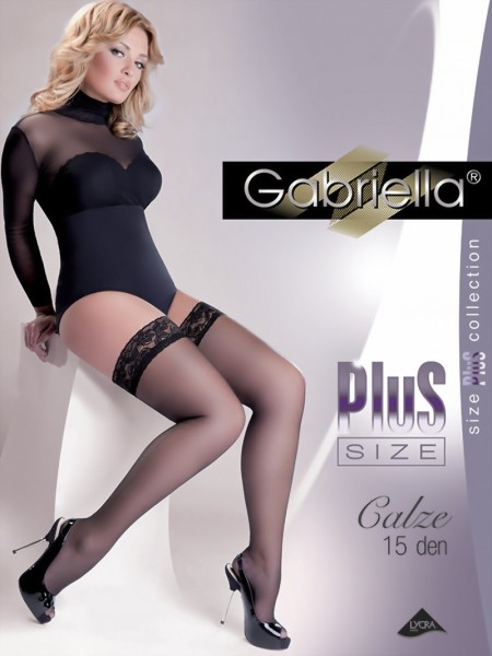 Gabriella - Elegant plus size hold ups with floral patterned lace top Calze, 15 DEN