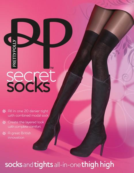 Pretty Polly Secret Socks - Rajstopy i zakolanówki w jednym